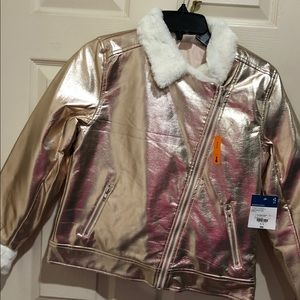Girl gold bomber jacket with faux fur size 16